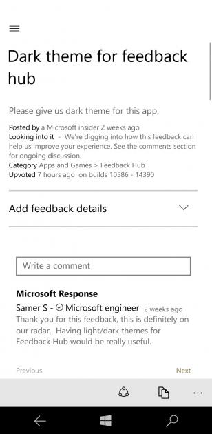 تم تیره ی ویندوز به Feedback Hub ویندوز 10 اضافه خواهد شد, اخبار مایکروسافت در مایکروسافت می
