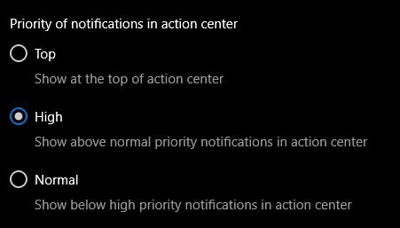 اولویت بندی نوتیفیکیشن ها در اکشن سنتر ویندوز 10 مایکروسافت می