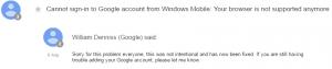 پاسخ گوگل به مشکل اتصال اپ اوت لوک به جبمیل , مایکروسافت می