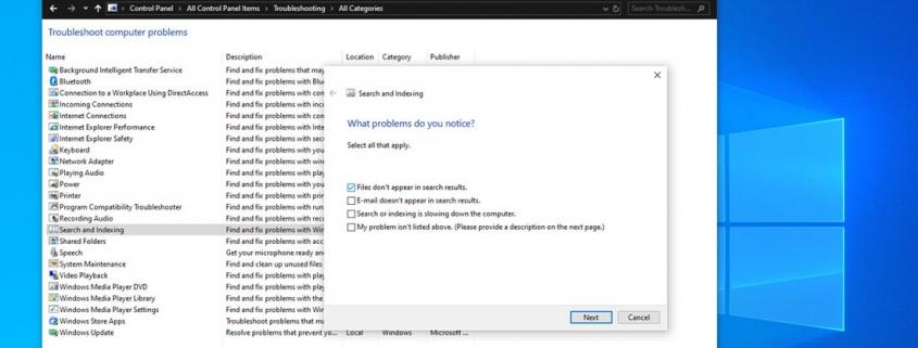 انتخاب files don't appear in search result برای حل مشکل search در ویندوز 10