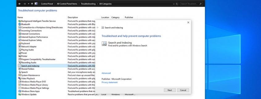 پیدا کردن search and indexing برای حل مشکل search در ویندوز 10