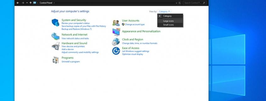 انتخاب Large Icons در کنترل پنل ویندوز 10 برای حل کار نکردن سرچ