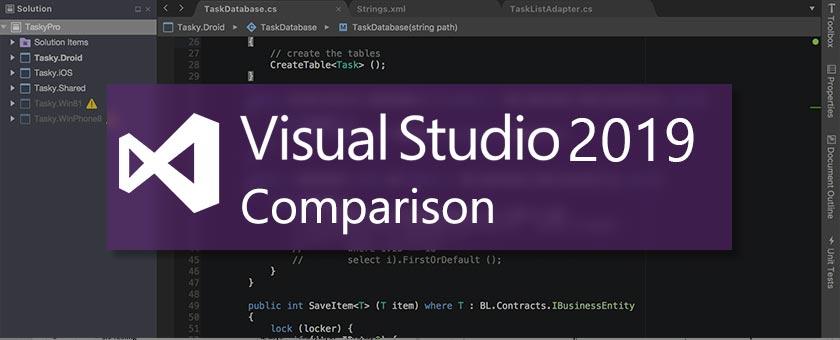 مقایسه نسخه های مختلف ویژوال استودیو