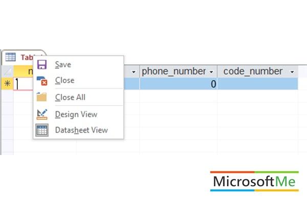 تنظیمات جدول در اکسس